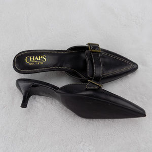Chaps Solid Black Slip On Pointed Toe Heels Shoes